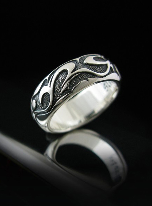 Black Surge silver ring