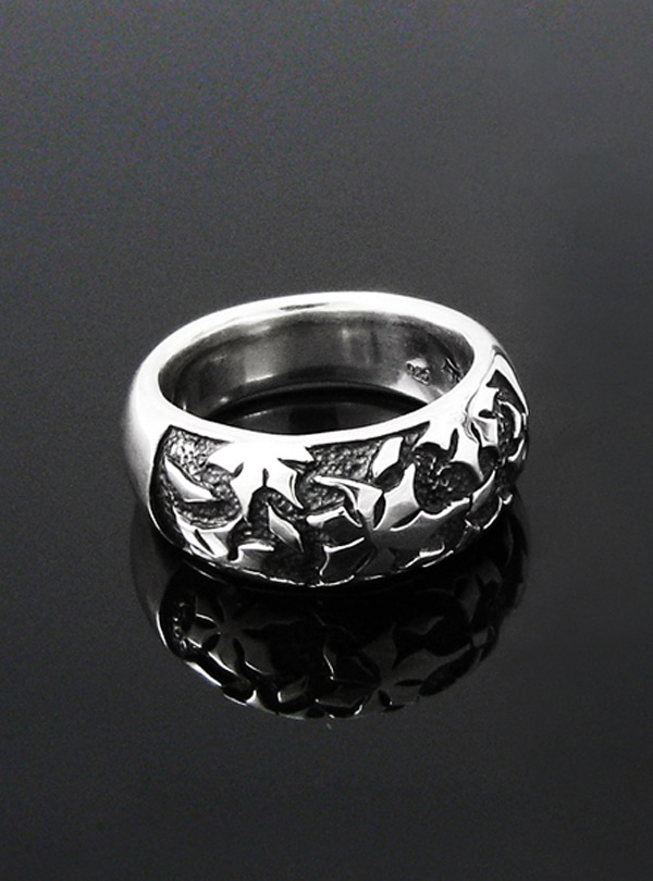 Lunar Flower silver ring